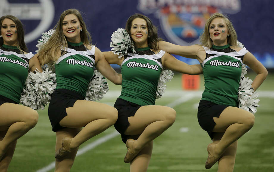 Marshall cheerleaders during the St. Petersburg Bowl NCAA college football game against Connecticut Saturday, Dec. 26, 2015, in St. Petersburg, Fla. (AP Photo/Chris O'Meara)