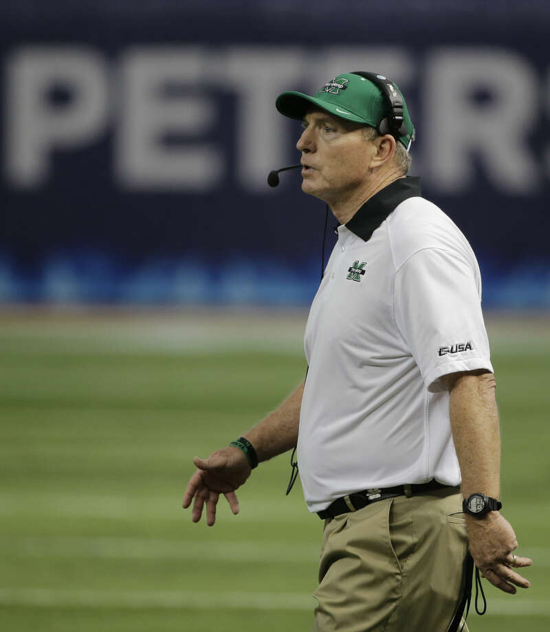 Marshall head coach Doc Holliday during the St. Petersburg Bowl NCAA college football game against Connecticut Saturday, Dec. 26, 2015, in St. Petersburg, Fla. (AP Photo/Chris O'Meara)