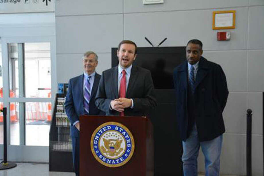 U.S. Sen. Chris Murphy (D-Conn.) at the Stamford Train Station with Connecticut Department of Transportation Commissioner Jim Redeker and state Rep. Terry Adams.