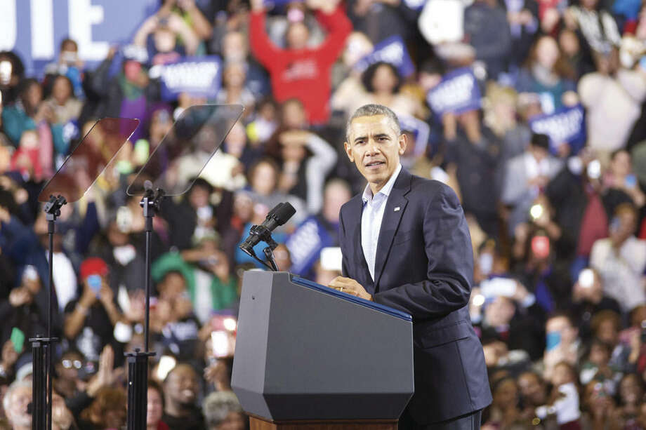 Hour photo/Danielle CallowayPresident Barack Obama speaks at a Democratic campaign rally at Central High School in Bridgeport Sunday.