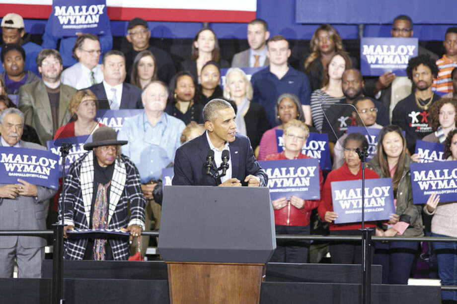 Hour photo/Danielle CallowayPresident Barack Obama speaks at a Democratic campaign rally at Central High School in Bridgeport Sunday afternoon.