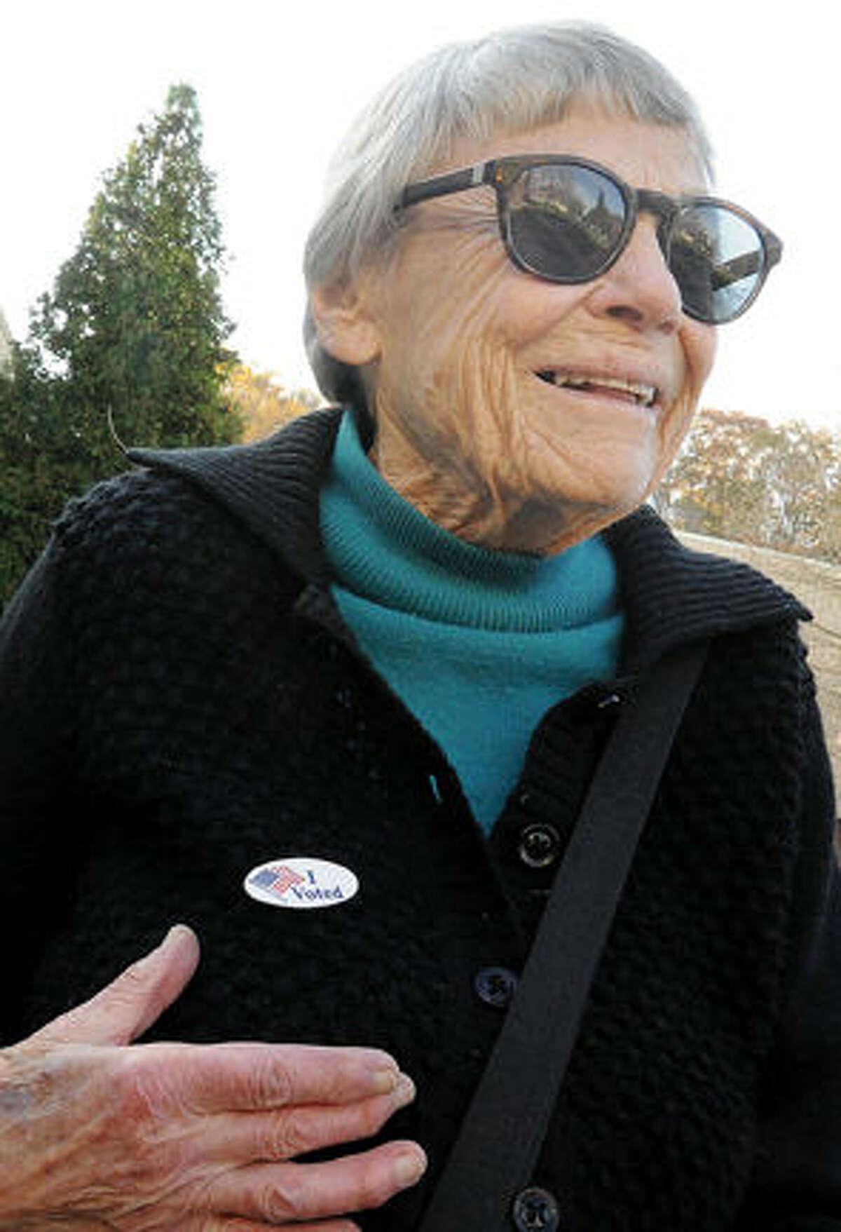 """Alice Levin has her """"I Voted"""" sticker Tuesday at the Clune Center for the Arts at Wilton High School Tuesday. Photo/Matthew Vinci"""