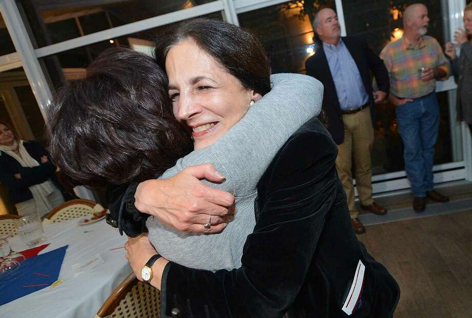 Hour Photo/Alex von Kleydorff Gail Lavielle wins and greets supporters during RTC election night at the Norwalk Inn