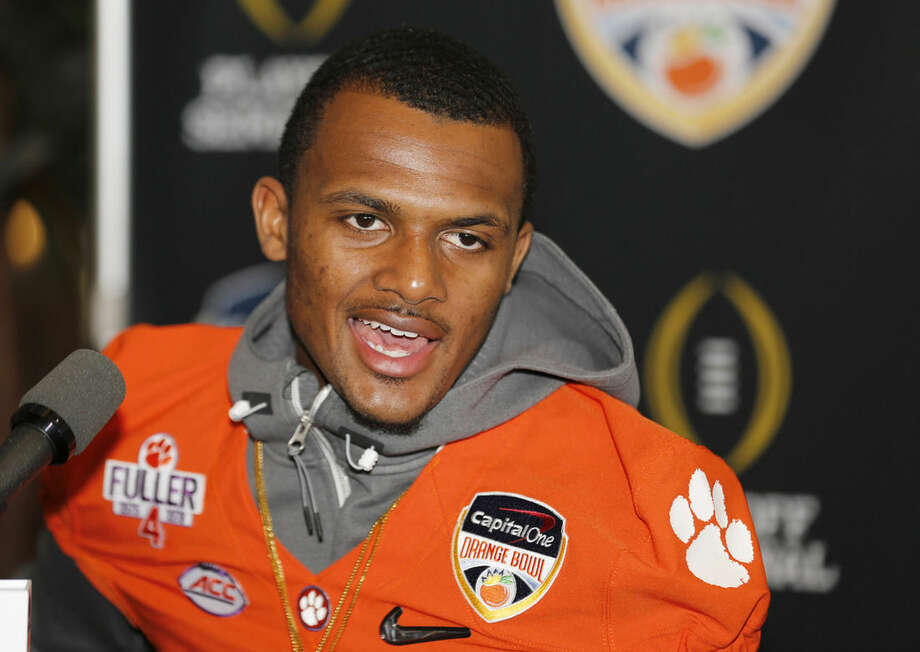 Clemson quarterback Deshaun Watson speaks during Orange Bowl media day at Sun Life Stadium Tuesday, Dec. 29, 2015, in Miami Gardens, Fla. Clemson is scheduled to play Oklahoma in the Orange Bowl NCAA college football game on New Year's Eve. (AP Photo/Joe Skipper)