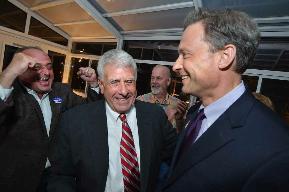 Hour Photo/Alex von Kleydorff Fred Wilms wins with Anthony DePanfilis at RTC Election night at The Norwalk Inn
