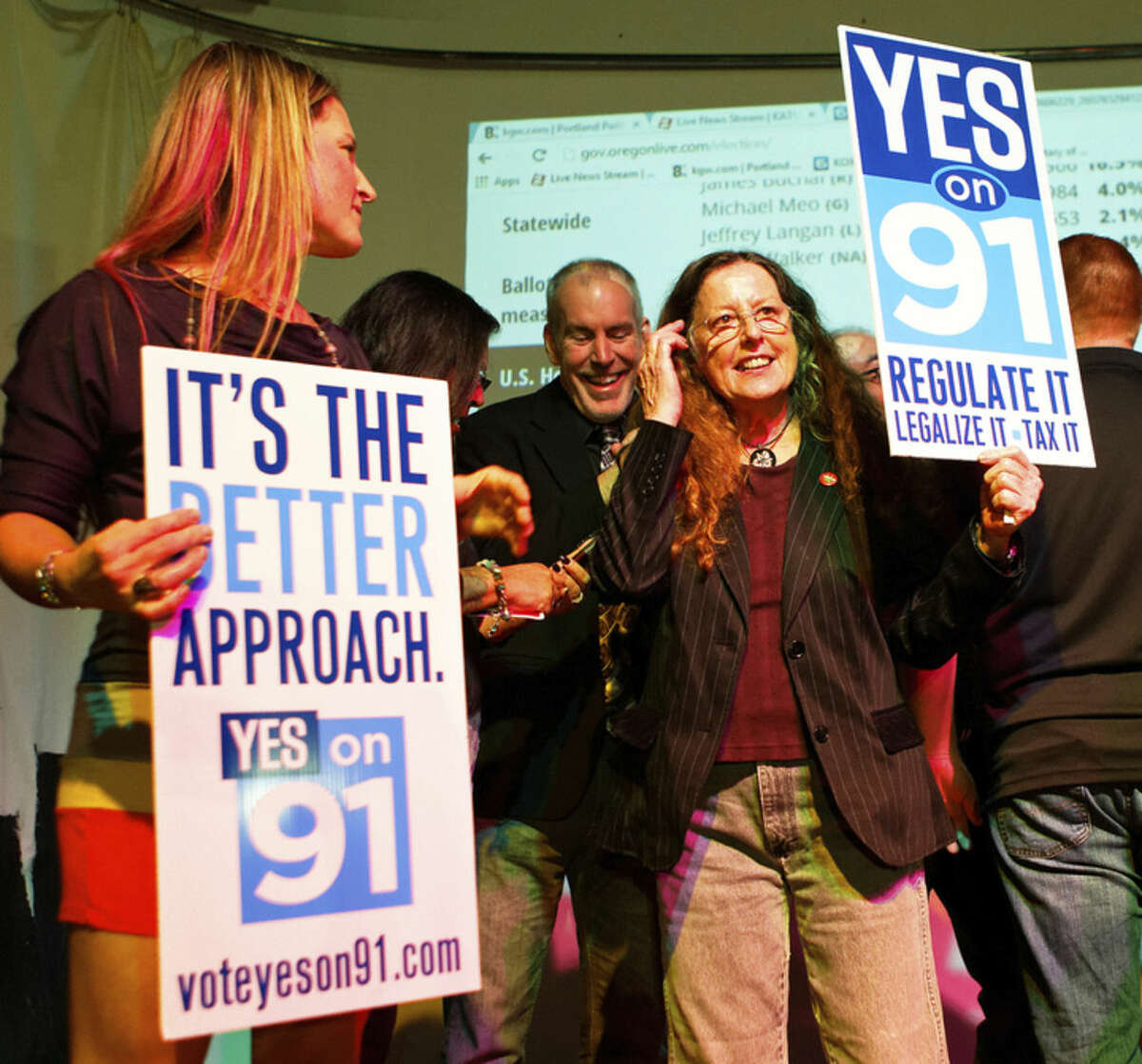 Supporters for the legalization of marijuana celebrate at the Measure 91 party at Holocene night club in Portland, Ore., on Tuesday, Nov. 4, 2014. Oregon voters legalized recreational pot use Tuesday, making the state the third to approve the drug for commercial sales. (AP Photo/The Oregonian, Madeline Stone)