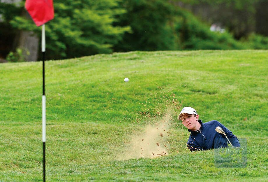 Hour photo / Erik Trautmann High School golfers including Brien McMahon's Connor O'Brien compete in the annual Chappa Golf Tournament at Longshore Club Park in Westport Thursday