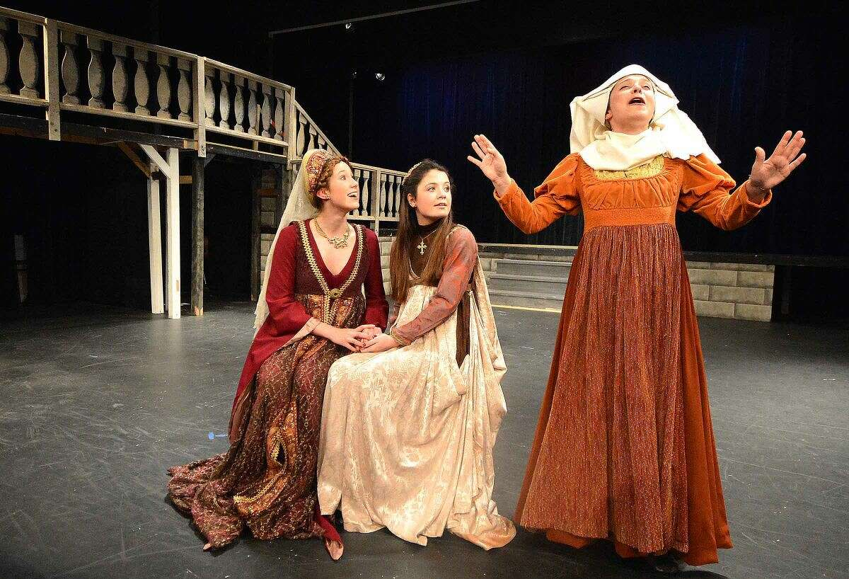 Hour Photo/Alex von Kleydorff Lady Capulet (Caitlin Witty) and daughter, Juliet (Annabelle Randolph) enjoy the ramblings of her devoted nurse (Gabby Pucci)