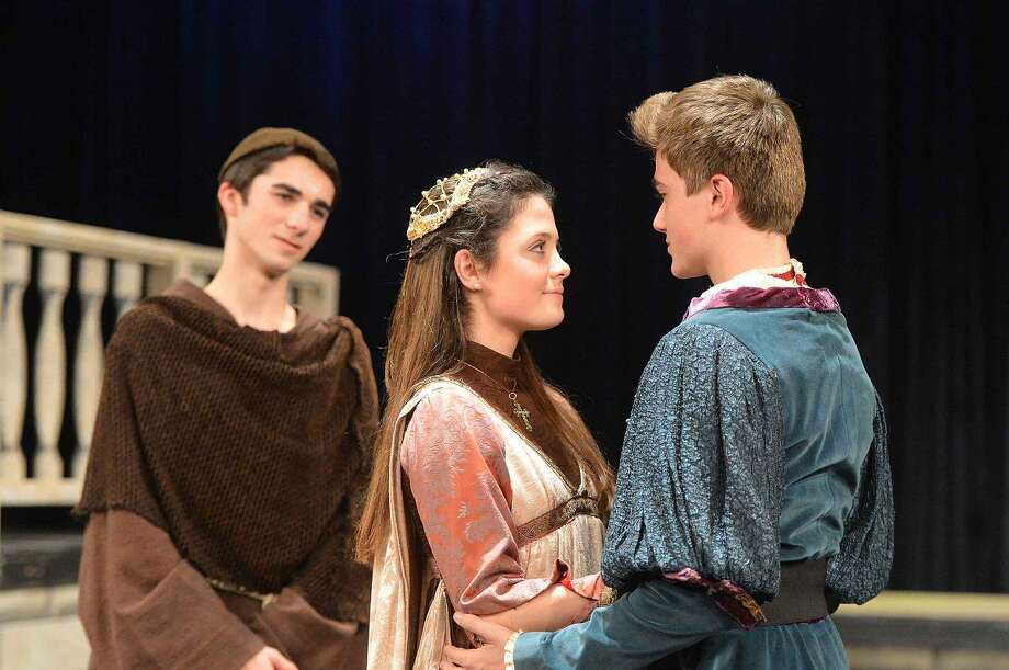 "Hour Photo/Alex von Kleydorff The marriage of ""starcrossed lovers"", Romeo (Ben Senneff) and Juliet (Annabelle Randolph). A well-meaning Friar John (Daniel Glynn) looks on."