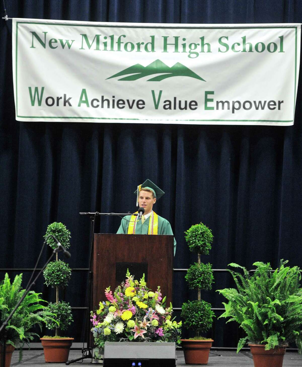 Valedictorian Nathaniel carrel Diamond delivers his address during the New Milford High School 2016 Graduation Exercise, on June 11, 2016, at the O'Neill Center, Western Connecticut State University, Danbury, Conn.