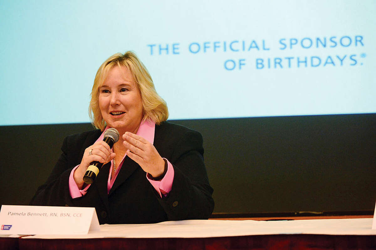 Hour photo / Erik Trautmann Executive Director of Patient and Professional Relations at Purdue Pharma L.P., Pamela Bennett, RN, BSN, CCE speaks as part of a panel discussion as The American Cancer Society hosts the inaugural