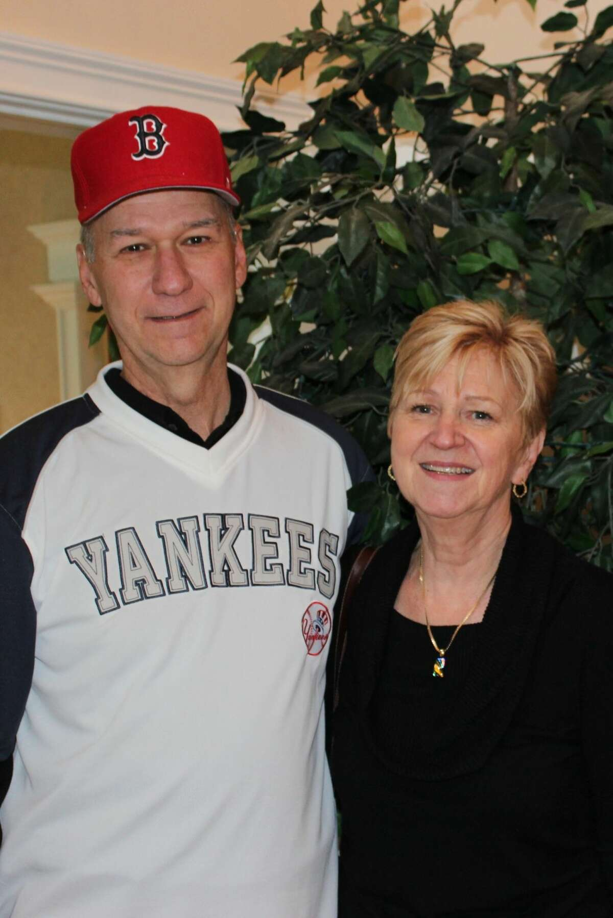 Gratefulheart recipient and Yankee's fan, Jim Hodrinsky of Mansfield Center, wears a Boston Red Sox hat in honor of the donor who gave him a second chance to enjoy the holidays with his wife and family. Jim joins with other organ transplant recipients to encourage everyone to register as an organ, eye and tissue donor in the New Year.