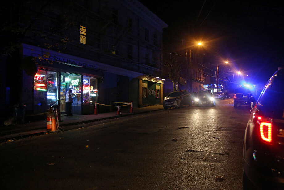 The scene of a stabbing at Cocchia Liquor on Ely Avenue Wednesday evening. Hour Photo / Danielle Calloway