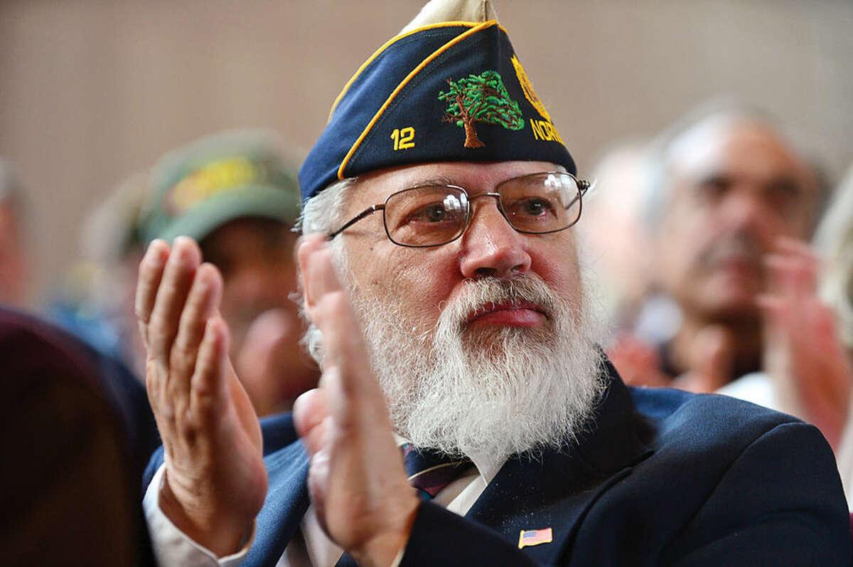 Hour photo / Erik Trautmann Army veteran Ewald Hemingway attends the Norwalk Veteran's Day celebration at City Hall Tuesday morning.