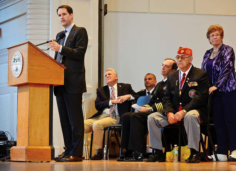Hour photo / Erik Trautmann US Congressman Jim Himes gives his address during Norwalk Veteran's Day celebration at City Hall Tuesday morning.