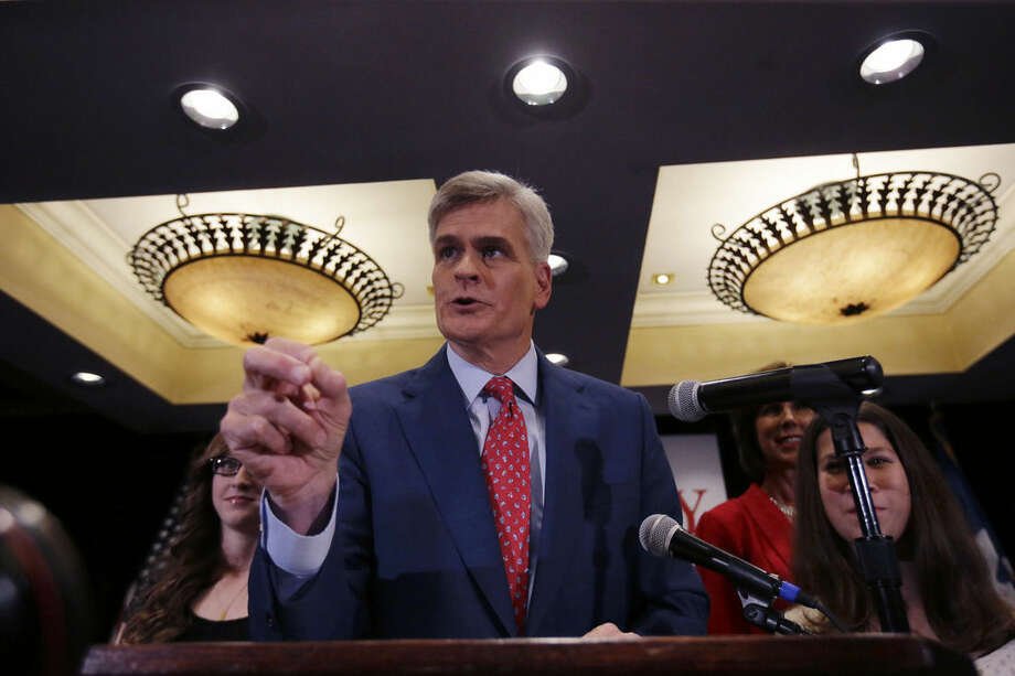 In this photo taken Nov. 4, 2014, Louisiana Republican Senate candidate Rep. Bill Cassidy, R-La. speaks to supporters during his election night watch party in Baton Rouge, La. Republicans have promised Cassidy a seat on the Senate's energy committee if he defeats Sen. Mary Landrieu in the state's runoff election next month. The move undercuts one of Landrieu's chief campaign arguments, that voters in the state with a robust oil and gas industry need her and her seniority on the committee. (AP Photo/Gerald Herbert)