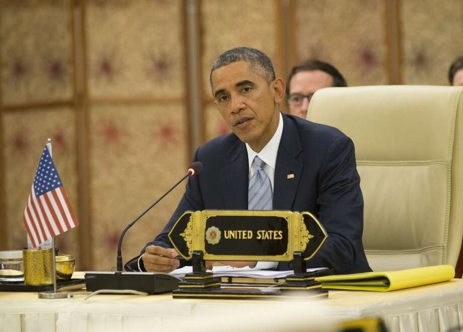 U.S. President Barack Obama speaks at an U.S.-ASEAN (Association of South East Asian Nations East Asia) session at the Myanmar International Convention Center, Thursday, Nov. 13, 2014 in Naypyitaw, Myanmar. (AP Photo/Pablo Martinez Monsivais)