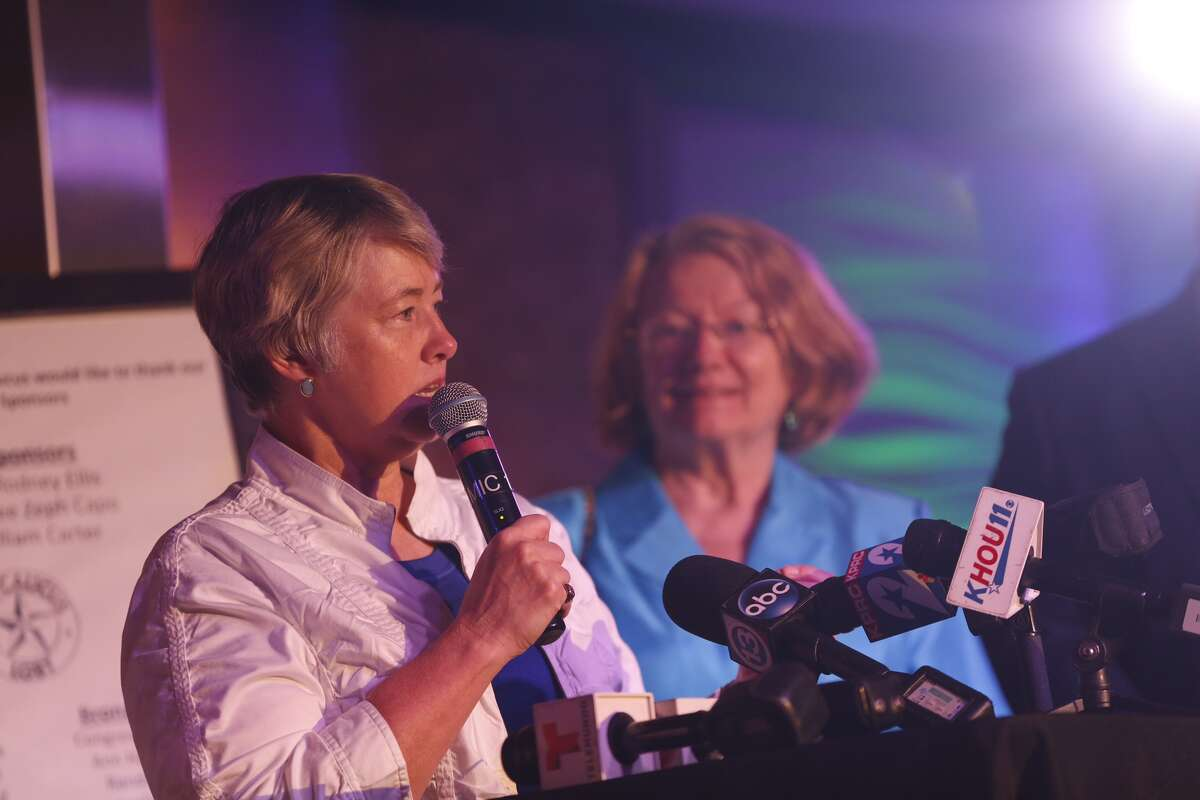 Former Mayor Annise Parker speaks at a gathering at the Meteor in the Montrose area.
