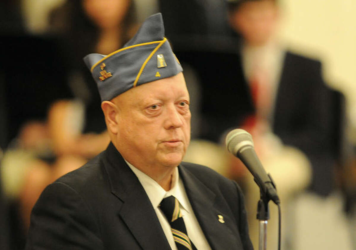 Cortland Mehl US Army Ret. Speaks Monday at the Stamford High School History and Music Departments that presented a Veterans Day assembly to recognize and honor veterans who have proudly served our country. Photo/Matthew Vinci