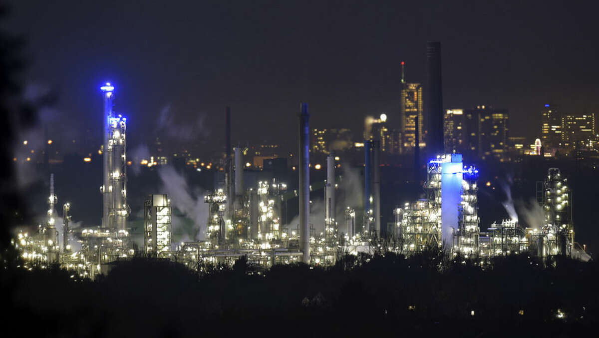 The Nov. 12, 2014 photo shows a BP refinery in Gelsenkirchen, Germany. The German economy, Europe's biggest, returned to modest growth of 0.1 percent in the third quarter - avoiding a technical recession after contracting slightly in the previous three-month period, official data showed Friday (AP Photo/Martin Meissner)