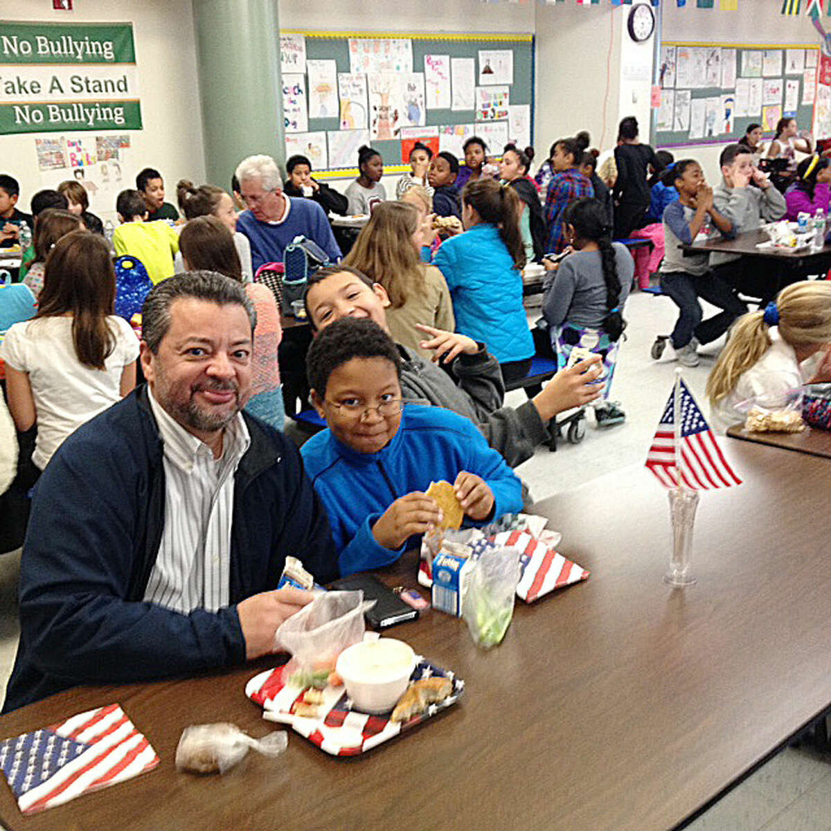 Contributed photo Veterans were invited for lunch at West Rocks Middle School in Norwalk on Tuesday, Veterans Day.