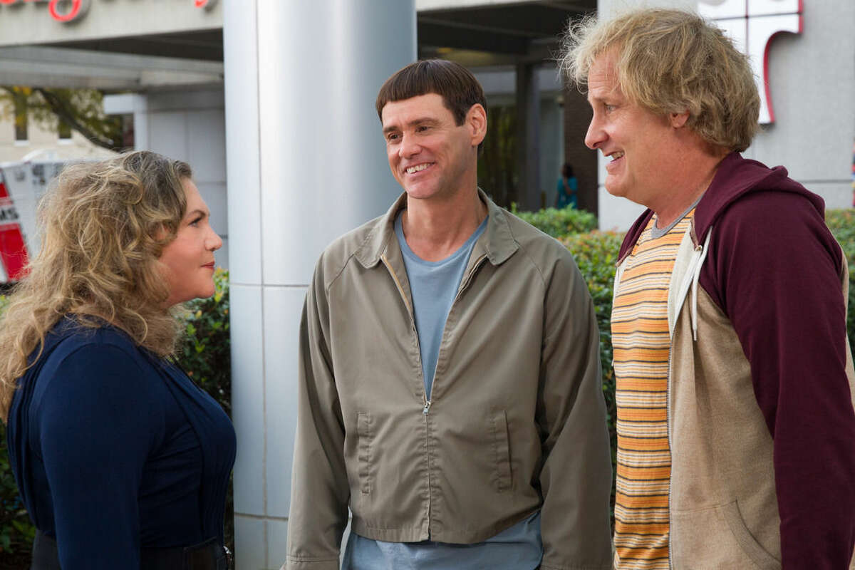 This image released by Universal Pictures shows Kathleen Turner, from left, Jim Carrey, and Jeff Daniels in a scene from