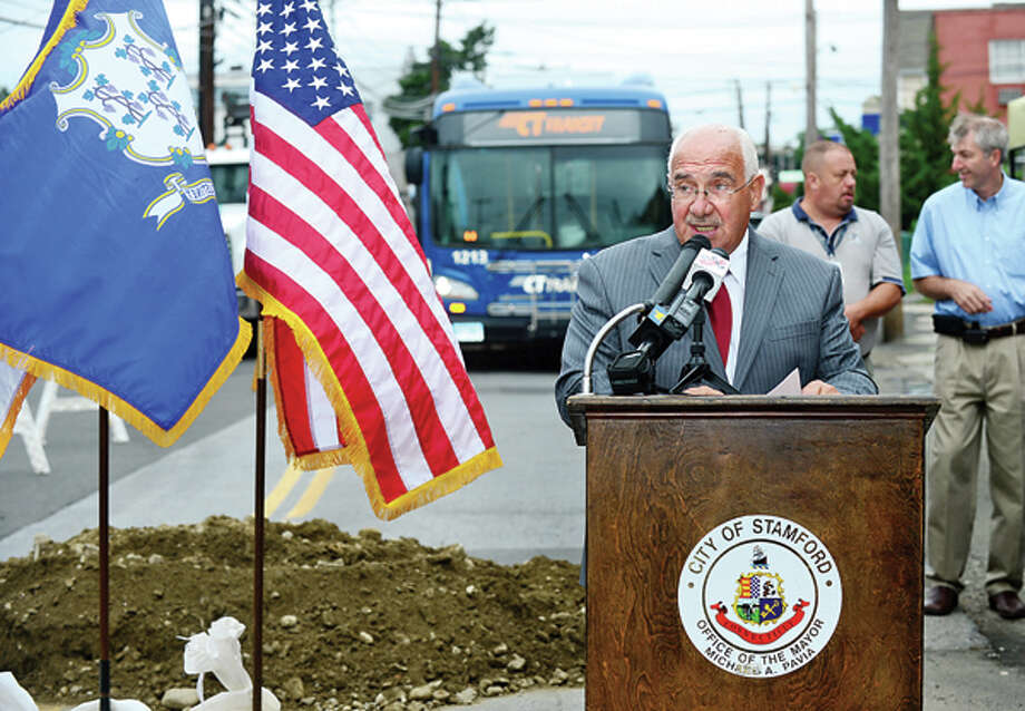 City of Stamford Director of Operations Ernie Orgera makes remarks during the groundbreaking ceremony for the Stamford Urban Transitway, Phase II. / (C)2013, The Hour Newspapers, all rights reserved