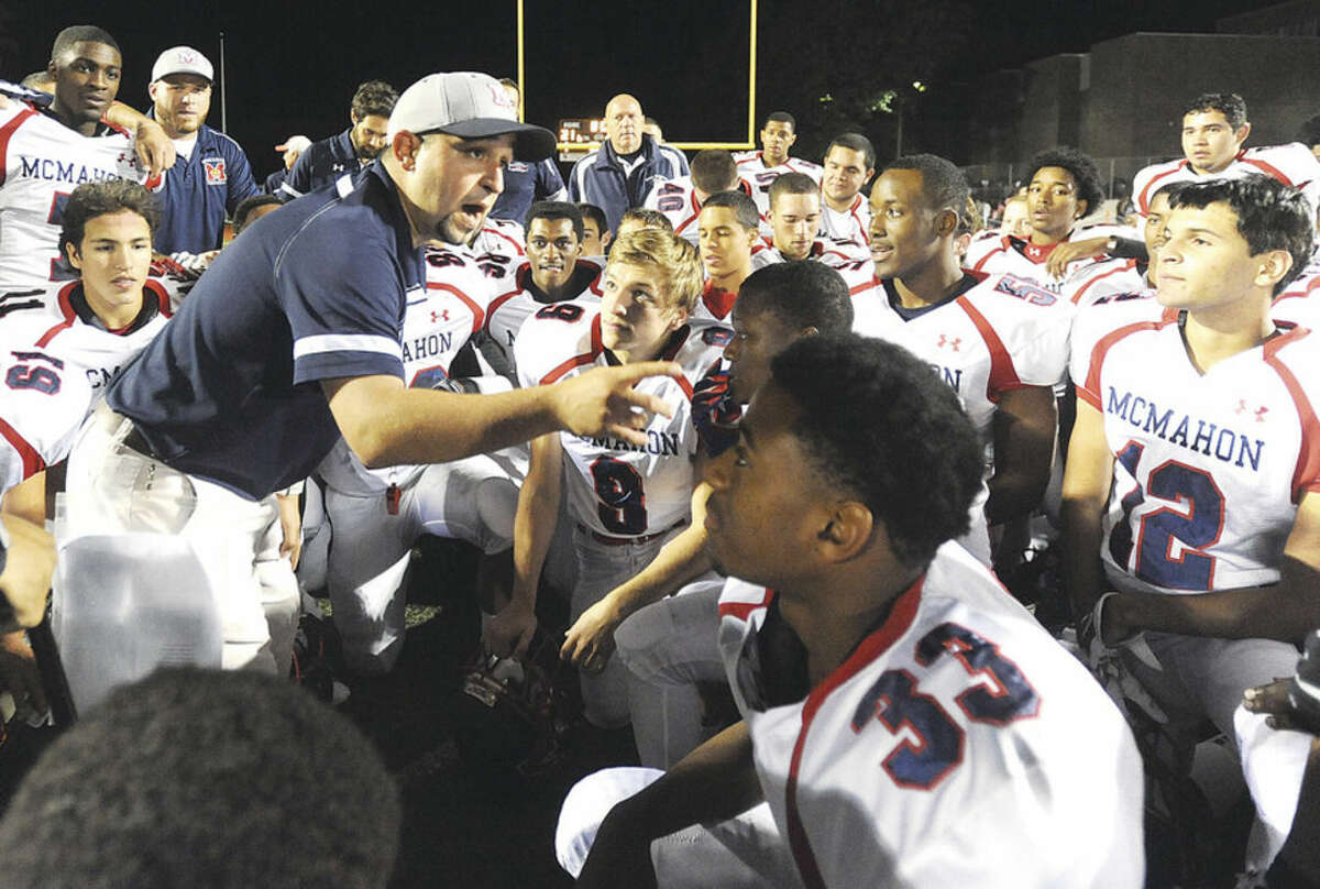 Hour photo/John Nash McMahon coach A.J. Albano has told his team all year that it's a running team that hasn't gotten on the respective it deserves. All that could change on Saturday when the Senators play St. Joseph at 2 p.m. in Trumbull.