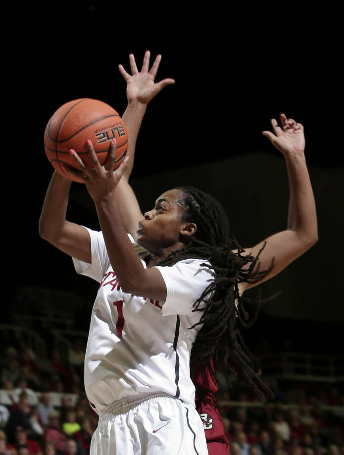 Stanford guard Lili Thompson drives to the basket against Boston College during the second half of an NCAA college basketball game Friday, Nov. 14, 2014, in Stanford, Calif. (AP Photo/Marcio Jose Sanchez)