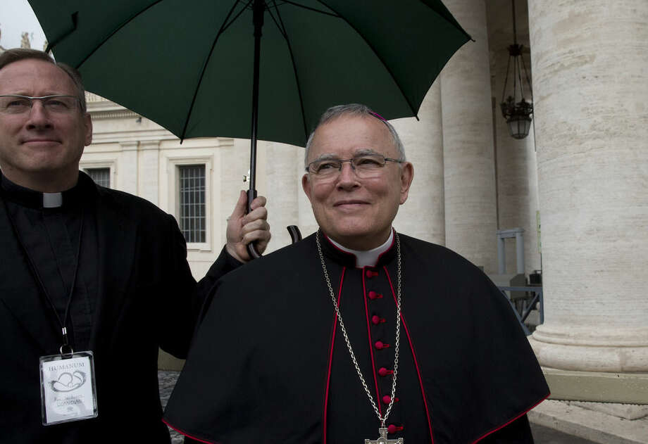"Philadelphia Archbishop Charles Chaput arrives for an interview with The Associated Press, at the Vatican, Monday, Nov. 17, 2014. Pope Francis confirmed Monday that he will travel to the U.S. next year to participate in a rally for families in Philadelphia. Francis had said he hoped to make the September meeting. But he confirmed his presence at the World Meeting of Families during a speech to an interreligious conference on traditional family values at the Vatican. Philadelphia Archbishop Charles Chaput, who is organizing the meeting, welcomed the news. ""I applauded the loudest"" when Francis made the announcement, Chaput told The Associated Press. (AP Photo/Andrew Medichini)"