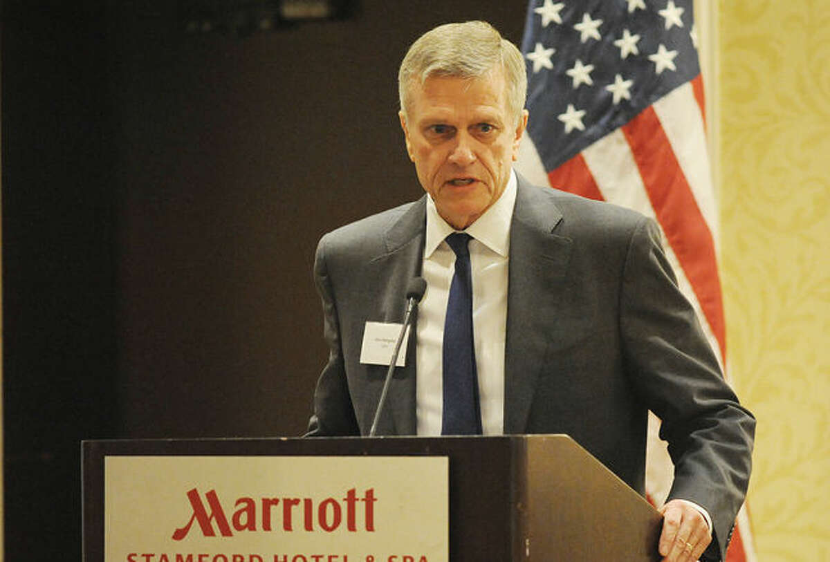 John Rathgeber, President & CEO Connecticut Buisness & Industry Association speaks Monday at the Stamford Marriott as a panel member of the Association presenting Opportunity Eastern Europe.