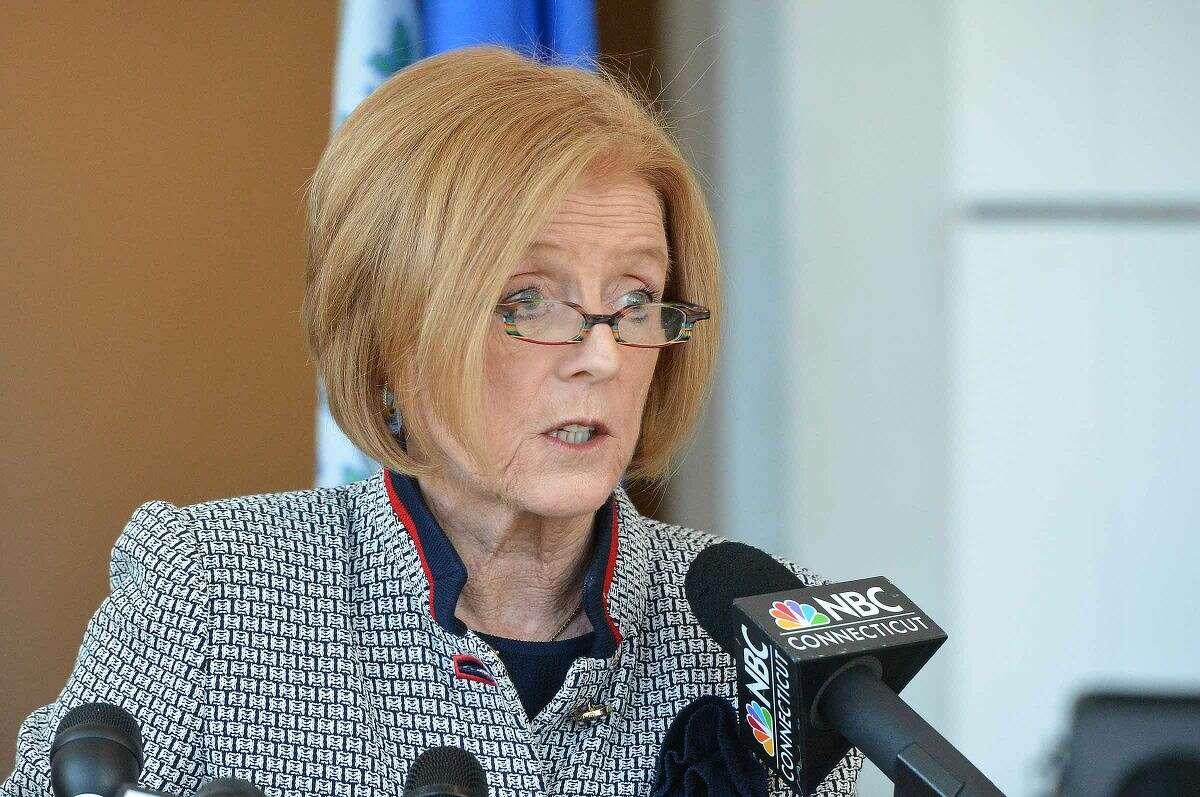 Hour Photo/Alex von Kleydorff Stamford Public Schools Superintendent Winifred Hamilton, announces administrators will not return to their posts,