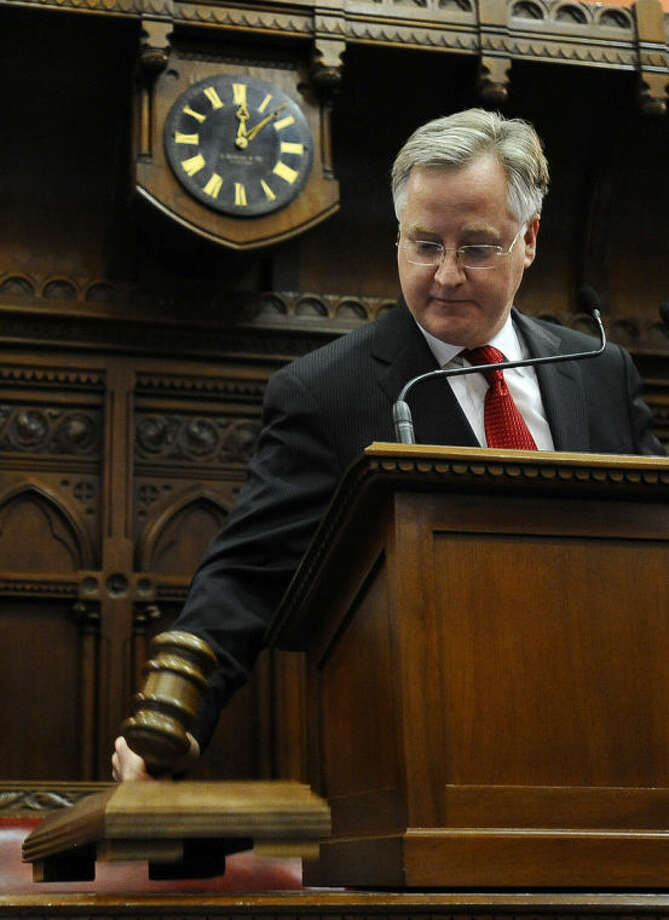 Connecticut Speaker of the House Brendan Sharkey brings down the gavel to close the final day of session at the Capitol, Thursday, May 8, 2014, in Hartford, Conn. (AP Photo/Jessica Hill)