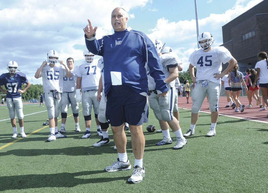 Hour photo/Matthew VinciMarce Petroccio, the 22-year head football coach at Staples High School, will enter the Connecticut High School Coaches Association Hall of Fame Thursday night at a dinner in Southington.