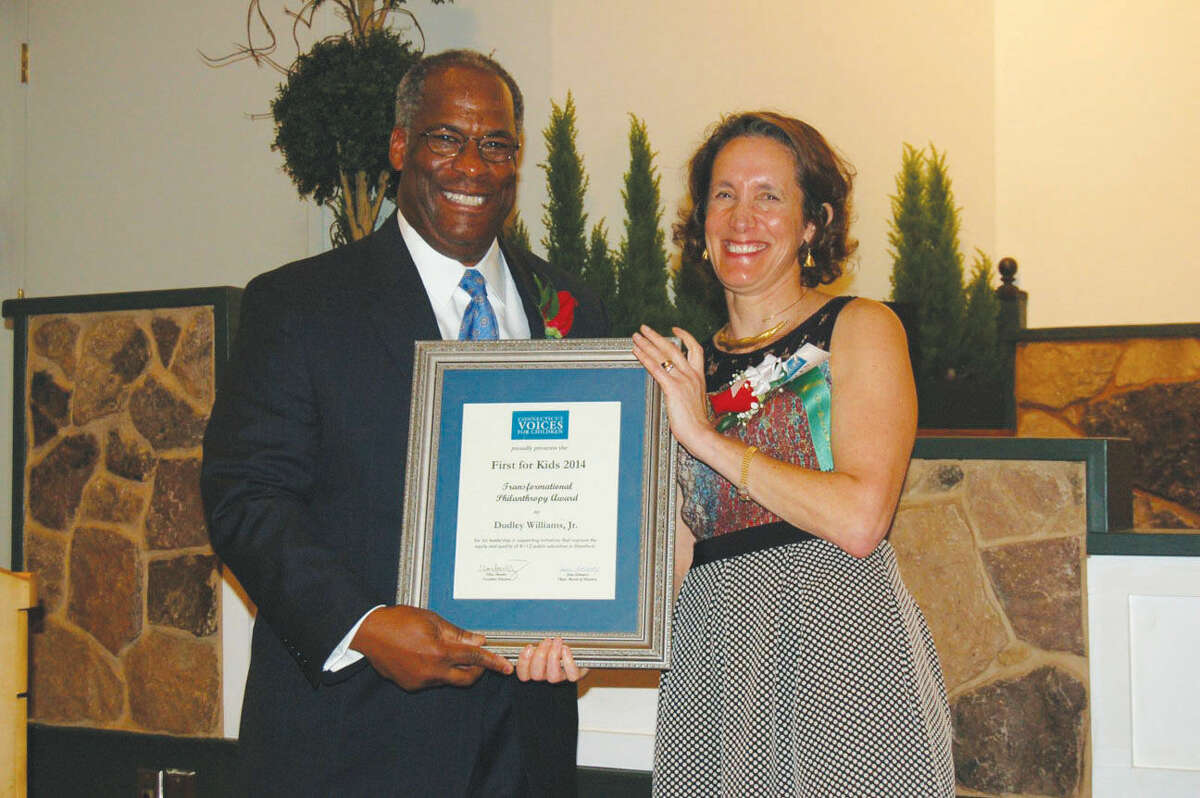 Longtime education advocate Dudley Williams, Jr. (left) was recently recognized for his efforts in education by Connecticut Voices for Children.