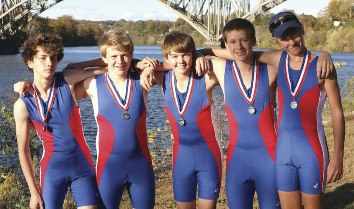 Contributed photos Head of the Schuylkill (from left to right): Laurence Redpath (Weston), Ryan Purdy (Wilton), Ryan Ettie (Wilton), Teddy Corper (Wilton) and Zach Johnston (Cross River)