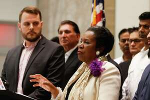 Congresswoman Sheila Jackson Lee, D-Texas, speaks during a news conference Sunday, June 12, 2016, in Houston, calling for a ban on assault weapons and expressing sympathy for the victims of the mass shooting in Orlando, Fla.