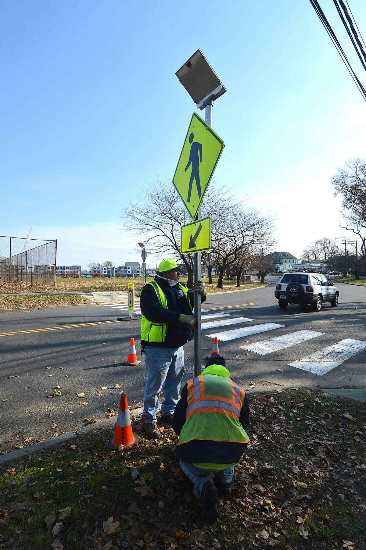 Solar powered pedestrian crossing signs are installed at Stillwater Avenue and Progress Drive, part of Stamford's Street Smart program.