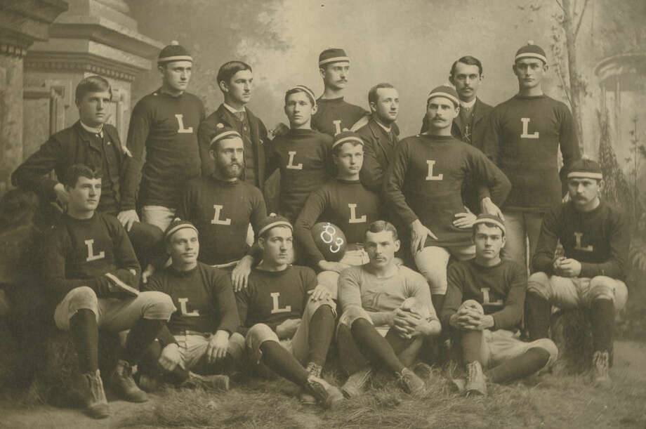 This photo provided by Lafayette College shows the school's 1883 football team. On Saturday, Nov. 22, 2014, Lehigh University will play Lafayette College for the 150th time, at Yankee Stadium in New York. (AP Photo/Lafayette College Archives)