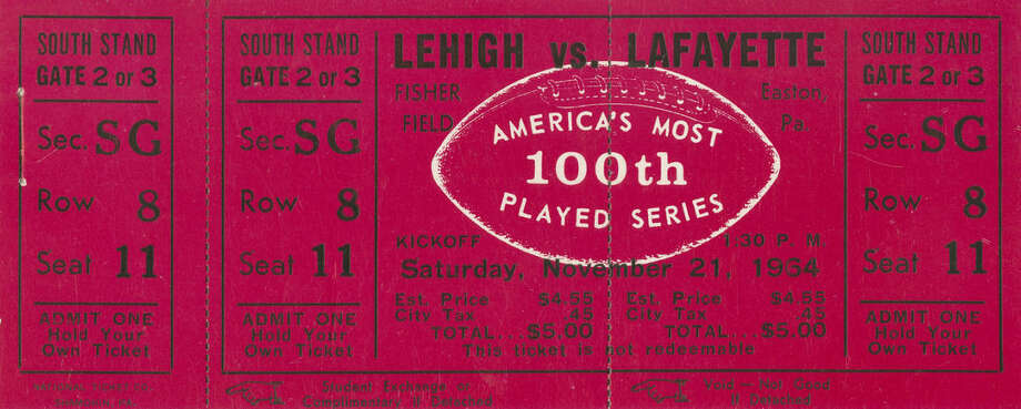 In this photo provided by Lafayette College, a ticket to the 100th college football game between Lehigh University and Lafayette College on Nov. 21, 1964, is shown. The 150th game between the schools is Saturday, Nov. 22, 2014, at Yankee Stadium in New York. (AP Photo/Lafayette College Archives)
