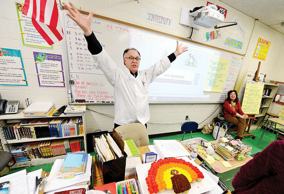 Hour photo / Erik Trautmann Baker Sky Mercedes talks to 8th graders about his career during Ponus Ridge Middle School's 1st annual Career Day Thursday. The day will include guests talking to students about their careers.