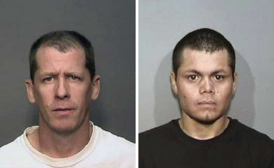 FILE - This combination of undated file photos from the Megan's Law website shows suspects Steven Dean Gordon, 45, left, and Franc Cano, 27, who were arrested on Friday, April 11, 2014, on suspicion of killing four women in Orange County, Calif. Gordon confessed to a police detective after his arrest earlier this year, testimony from a grand jury transcript unsealed Monday, Nov. 24, 2014, revealed. Gordon also told police that he and co-defendant Frank Cano killed a fifth woman who has never been identified. (AP Photo/Megan's Law, File)