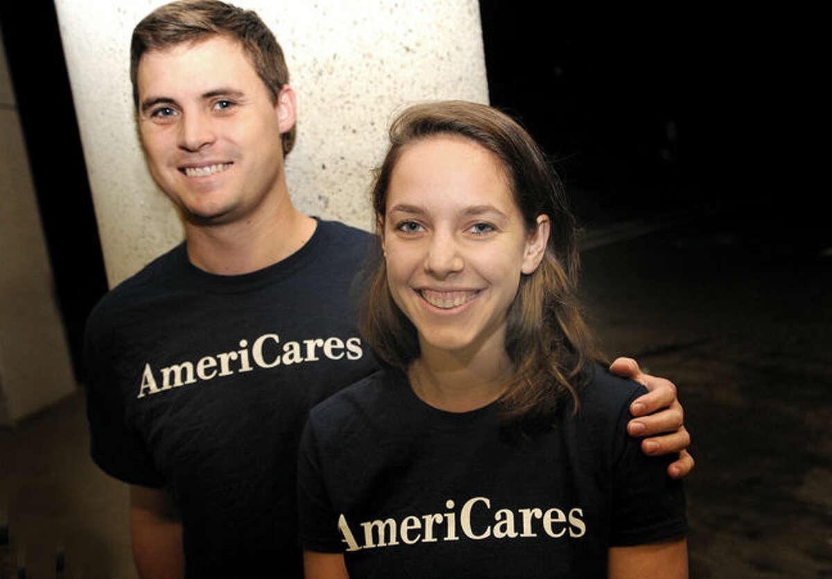 Wilton native Sara Krivoshik with her boyfriend, Marshall Stock, also of Wilton, recently ran the New York City Marathon and helped raise money for Team AmeriCares.