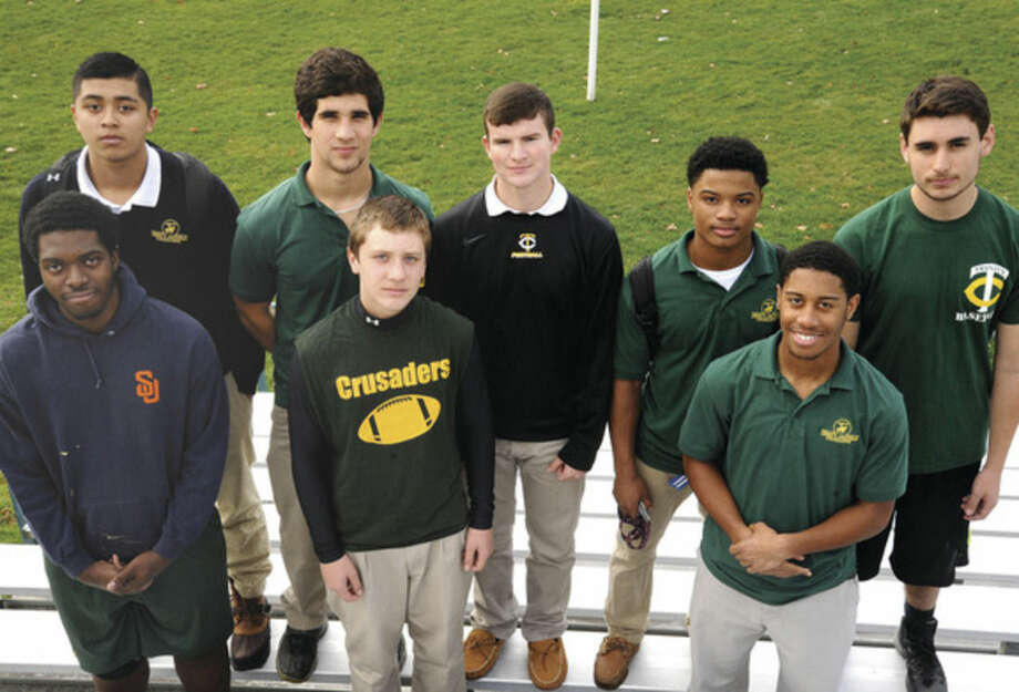 Hour photo/Matthew VinciSome of the Trinity Catholic High School footabll players who live in the city of Norwalk are Gerardo Gonzalez, Nick Granata, Brian Brown, Courtland Victrum, Maxwell Pagano, Charles Bogus, Wille Sadler, not in the photo is Sean Sullins and Frankie Passerelli.