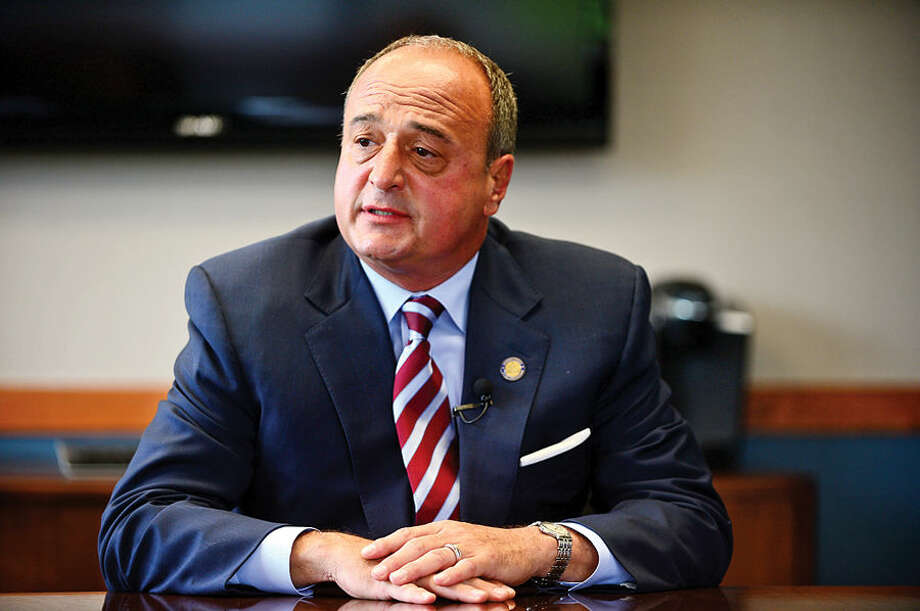 State Representative, Larry Cafero, CT Minority leader, announced to The Hour editorial board Thursday that he will not be a candidate for governor. Hour photo / Erik Trautmann