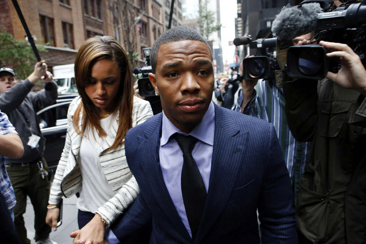 FILE - In this Nov. 5, 2014, file photo, Ray Rice arrives with his wife Janay Palmer for an appeal hearing of his indefinite suspension from the NFL in New York. Rice has won the appeal of his indefinite suspension by the NFL, which has been