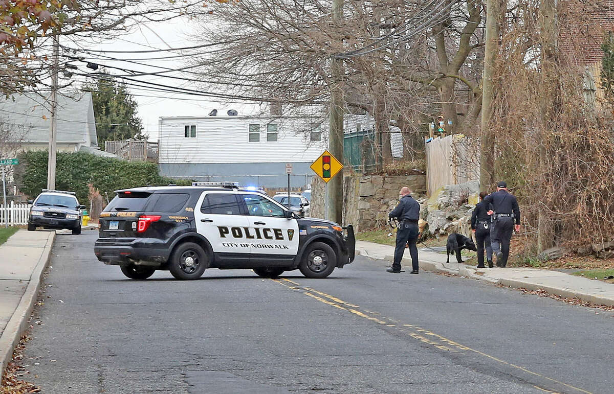 Police investigate the scene of a robbery on Ely Ave in Norwalk Saturday afternoon. Hour Photo / Danielle Calloway