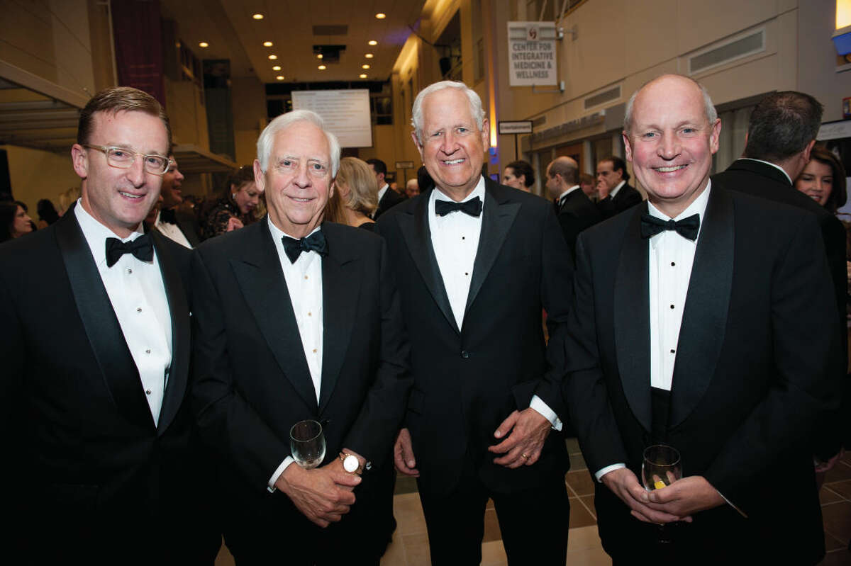Pictured at Stamford Hospital's 10th annual Dream Ball Gala, from left to right: Andy Merrill, Stamford Hospital Foundation board member; Peter Sachs, Stamford Hospital Foundation board member; Darrell Harvey, co-chairman of the Stamford Hospital Foundation board; and Brian Grissler, Stamford Hospital president & CEO.