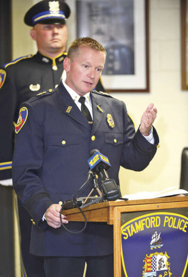 Stamford Police Department's new Assistant Chief Timothy Shaw comments after being sworn in.