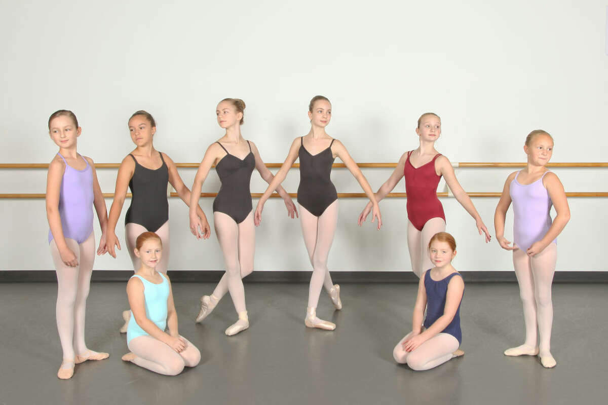 """Wilton dancers will perform in """"The Nutcracker"""" at the Westport Country Playhouse on Dec. 6, 7 and 13. Pictured from left to right, front row: Megan Case, Charlotte Stapkowski; back row: Alexandra Fordsman, Sasha Sypher, Nicole Case, Meryl Kaduboski, Grace Stapkowski, Sarah Case."""